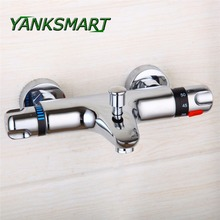 YANKSMART Brass Chrome Wall Mounted Bathroom Thermostatic Faucet Control Valve Shower Bathtub Tap Faucets outlet(China)