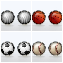 Trendy Sport Fans Round Cufflinks Silver Plated Retro Dome French Cuff  Mens Wedding Event Accessories Shift Gift Golf Ball
