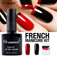 Vrenmol Nail Art Set Black+red Color Nail Gel Polish Soak Off UV Gel Varnish Long Lasting Lacquer+Gift for French Nail Stickers