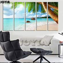 Large Canvas Print 5 Piece Sea Beach Picture Palm Tree Wall Art Tropical Ocean Seascape Wall Pictures For Living Room No Frames(China)