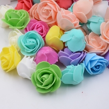 50 PCS Mini PE Foam Rose Artificial Flowers For Wedding Car Decoration DIY Pompom Wreath Decorative Valentine's day Fake Flowers(China)