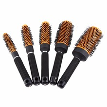 5Sizes Orange Spiral Professional Ceramic Round Roller Comb Hair Brush Curly Hair Comb Hairstyle Massager Hairdressing Hairbrush