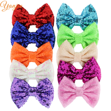 "25pcs/lot 5"" Kids Girl Glitter Big Sequin Messy Hair Bows Chic European DIY Hair Accessories For Kids Barrette Hair Clip Rainbow(China)"