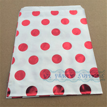 200pcs Foil Polka Dot Party Favor Bags Metallic Red Wedding Favor Candy Popcorn Cookie Bags Minnie Mouse Baby Party Bags(China)