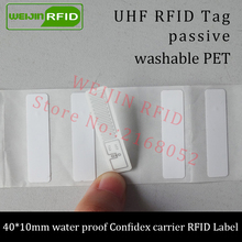 UHF RFID tag confidex carrier micro printable PET label 915m 40*10mm 868m 860-960M EPC G2 6C small waterproof passive RFID label