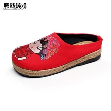 Chinese Women Slippers Casual Wedding bride Embroidery Linen Cotton Handmade Ladies Canvas Walk Hemp Soft Shoes Zapato Mujer(China)