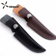 KKWOLF Black/brown hunting knife Genuine Leather sheath multitool ox cow Leather sheath survival Tactical Pocket Belt clip tool