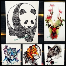 Black Chinese Panda Temporary Tattoo For Men Women Mandala Flower Arm Tatoo Body Back Art Henna Fake Waterproof Tattoo Stickers