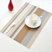4pcs/lot PVC Stripe Placemats Heat Resistant Placemats for Dinning Table Non-slip Home Decoration Table Mats Kitchen Pads