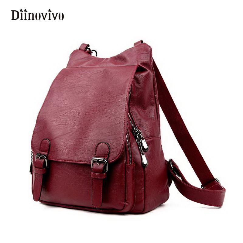 DIINOVIVO Women Backpacks Luxury Leather Female Travel Shoulder Bag Backpack Multifunction School Bags Girl Mochila WHDV0040<br>