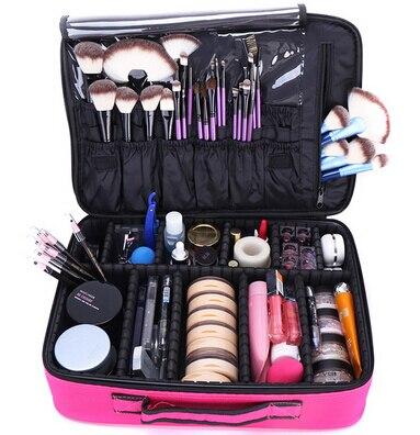 Makeup Bag Organizer Professional Makeup Artist Box Larger Bags Cute Korea Suitcase Makeup Suitcase Makeup Brushes Tools Case<br>