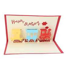 2017 Train Greeting 3D Card Pop Up Paper Cut Postcard Birthday Valentines Party Gift  FEB28_30