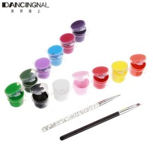 Professional 1 Set 12 Colors 3D Nail Art Pigment 2 Brush Pen Manicures Set Draw Painting Pallet Tool Acrylic Nails Kits
