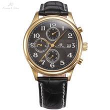KS IMPERIAL Series Date Month Day Display Men Dress Golden Case Luxury Black Leather Strap Automatic Mechanical Watches / KS157