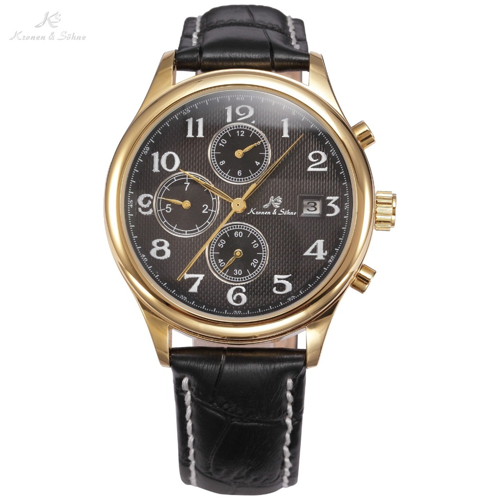 KS IMPERIAL Series Date Month Day Display Men Dress Golden Case Luxury Black Leather Strap Automatic Mechanical Watches / KS157<br>