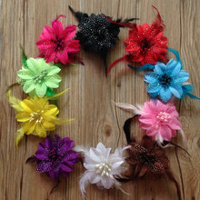 Girls Hair Accessories 4inch Feather Hair Flowers for Wedding Party,Dots Flower Hair Clips Black Red Yellow Purple White Brown