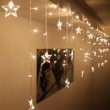 1.5*0.5 Meter 48 LED 10PCS Five-Pointed Star String Curtain Lights Fairy Xmas Wedding Birthday Holiday Room Decoration