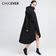 Buy CHICEVER Spring Black Irregular Women Dress Hooded Pullovers Loose Big Size Ruffles Dresses Female Clothes Fashion Vestidos 2018 for $32.29 in AliExpress store