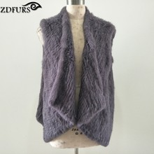ZDFURS *winter new Knitted  Rabbit fur vests gilet sleeveless  Loose style big size Knit Fur Waistcoat Women ZDKR-165019