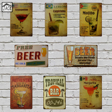Recipe for a Cocktail Free Beer Retro Plaque Metal Plate Poster 20X30CM Vintage Tin Signs Bar Cafe Shop Home Wall Man Cave Decor