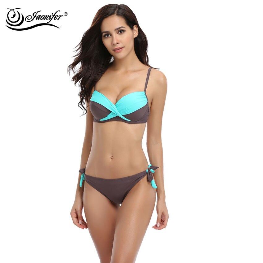 JAONIFER Women Bikini 2017 Cross stitching Low Waist Bikinis Push up Swimsuit Swimwear Swimming Bathing Suits Brazilian Bikinis<br>