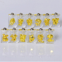 1Set Gold Chinese Horoscope(Sold in a set of 12 designs)  Perfume Name on rice vial Pendant crystal wishing bottles