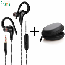 Briame Running Earphone In-Ear Bass Ear Hook Sport Headphone Sweatproof Headset With Microphone for iphone 5 6 Samsung Xiaomi(China)