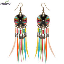 Light Color Feather Dark Oil Painting Alloy Feather Earrings Top Quality For European Market(China)