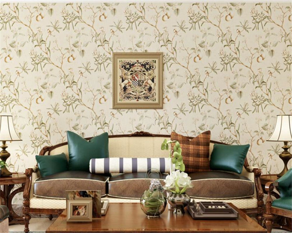 beibehang papel de parede Retro Apple Tree Flower Bird Classic Wall paper Living Room Background Nonwoven Pastoral 3d Wallpaper <br>