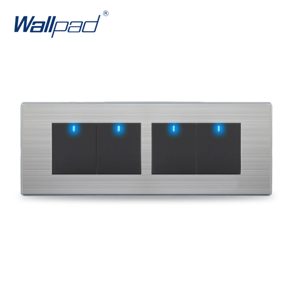 Hot Sale China Manufacturer Wallpad Push Button One-Side Click  LED Indicator Luxury Wall Light 4 Gang 2 Way Switch<br><br>Aliexpress