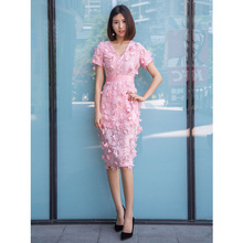 solid color pink crochet summer dress korean fashion womens clothing v neck short sleeve knee length cute dress free shipping