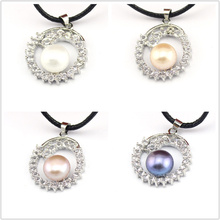 FREE SHIPPING !!! 100% Genuine White Pink Purple Black Natural Freshwater Pearl Flower Pendants -For Necklace