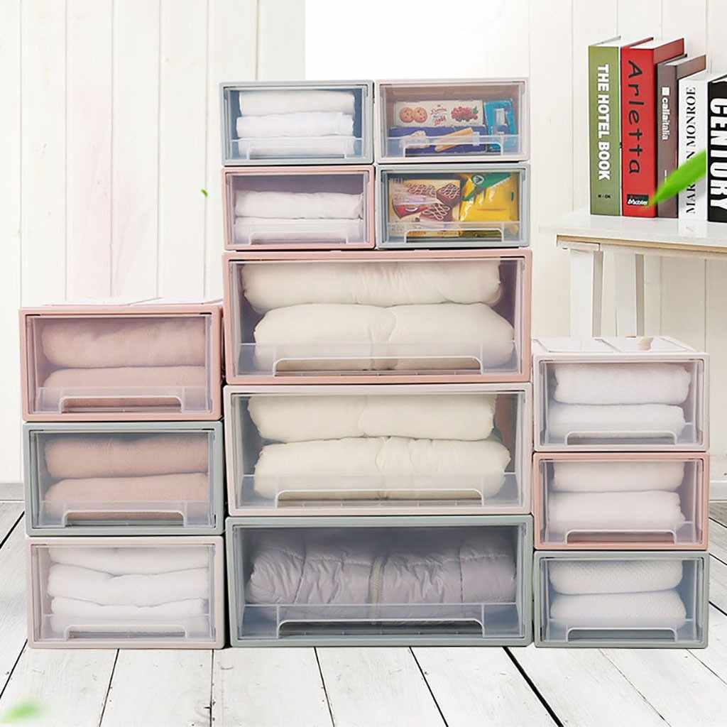 Storage Container Drawer Plastic Muji Style Minimalist Stackable Foldable Storage Bags Clothing Wardrobe Storage