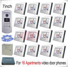 For 16 Apartments video door phones door bells intercom systems support Inductive Card/Password unlocking function