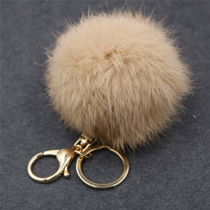 8CM Fluffy Pompom Real Rabbit Fur Ball Key Chain Women Trinket Pompon Hare Fur Toy keyring Bag Charms Ring Keychain Wedding Gift (14)
