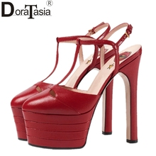 DoraTasia Big Size 33-42 Rivets Women Summer Shoes Woman 2017 Super High Heels Platform Party Wedding Sandals 15 Colors