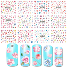 SWEET TREND 12 Designs/1 Set Nail Art Water Transfer Sticker Flower Pattern Colorful Nail Tips For Nail Decoration BEA1237-1248(China)