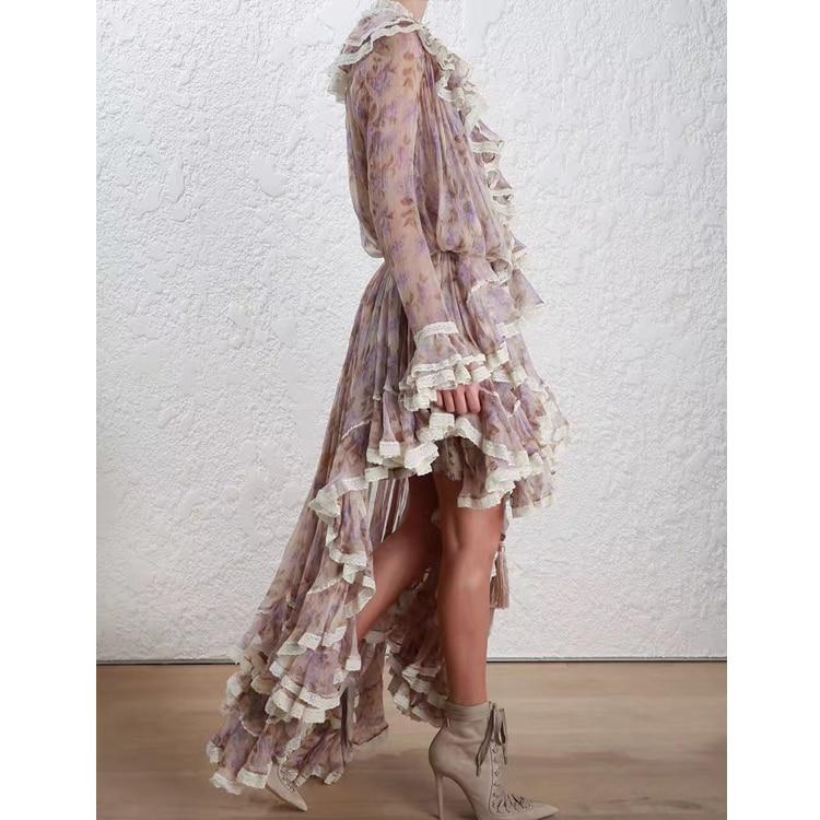 Women Long Sleeves Layered Cuffs Lavender Floral Print Asymmetrical Dress Silk Maxi Dress 3