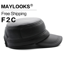 Maylooks Real Cowhide Baseball Cap Hat Mens Fashion Genuine Leather Hats 2017 New Adjustable Army Caps Brand Cap CS90(China)