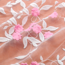 Cheapest 2Yards/lot Net African Lace Fabric 2017 Embroidery Mesh Tulle Fabrics fuchsia High Quality French Wedding Dress Fabric