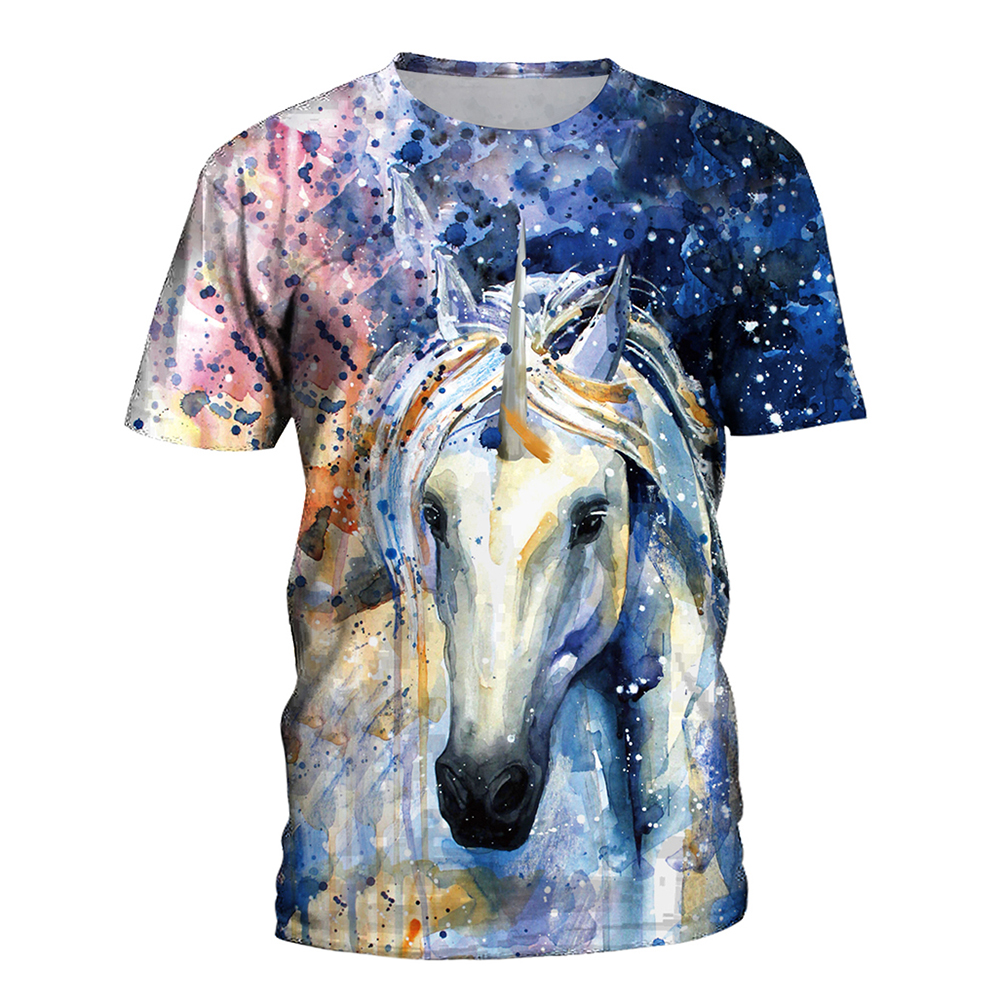 FCCEXIO 2018 New Summer T Shirt Women Animal Horse 3D Print Oil Color Tshirt Hiphop Lnk Splash T-Shirt Harajuku Crop Top 22