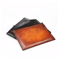 TERSE_Hot sale clutch bag mens women fashion leather envelope clutch bag genuine leather ipad bag in 3 colors custom service