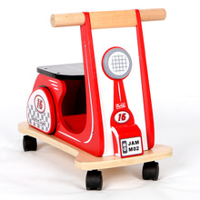 Kids Rushed Four Wood 2017 New Child Balance Baby Walkers Wooden Toys Children Can Sit Round The Cart Outdoor Sports Scooters(China)