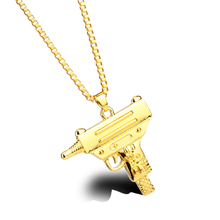 Popular Men's Hip Hop Necklace Nightclub Cool Hiphop Rap Rock Dancing Golden Color Gun Shape Pendant Necklace For Men Fans Gift