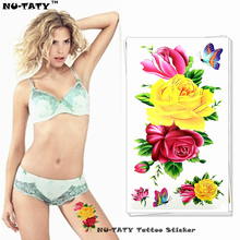 Nu-TATY Yellow Red Rose Temporary Tattoo Body Art Arm Flash Tattoo Stickers 17*10cm Waterproof Fake Henna Painless Tatto Sticker