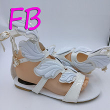 Big Size Eu41 Angel's White Wings Sandals Flame Shape Decoration Shoes  Famous Designer  2017 Women Sandals Classic Style New