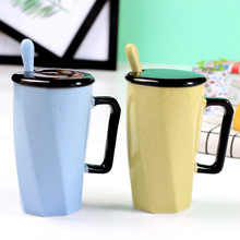 Double Decker Mugs Hand Painting Retro Ceramic Cup Coffee Milk Tea Mug with lid spoon Drinkware Novetly Gifts(China)