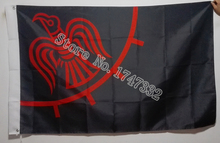 Raven Viking Red and Black Flag hot sell good 3X5FT 150X90CM Banner brass metal holes