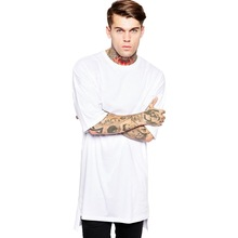 Cotton 2017 Streetwear Brand Clothing Men's t shirt Hip Hop Side Split t-shirt off white long line tops tee for men tall BMTX03(China)