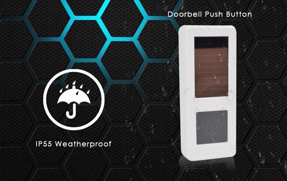 02CTVMAN Wireless Doorbell Solar Powered Push Wireless Doorbell